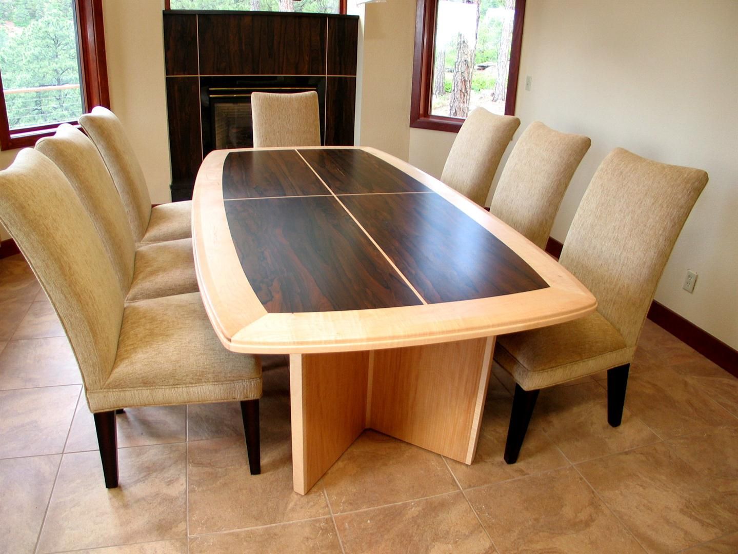 Custom Built Dining Table - Bocote and Maple